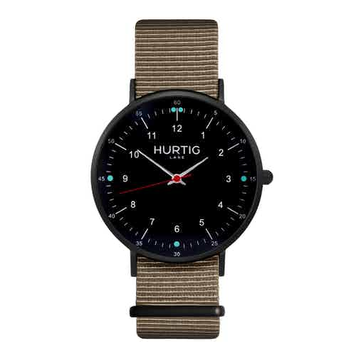 Moderna Vegan Nylon Montezuma Nato Watch All Black & Ocean Blue from Hurtig Lane in Watches, Accessories