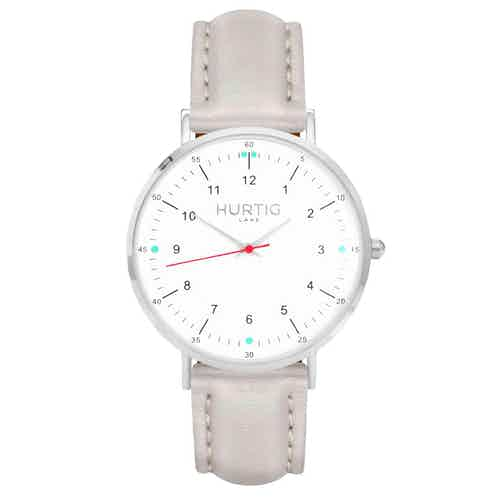 Moderna Vegan Leather Watch Silver, White & Cloud from Hurtig Lane in Watches, Accessories