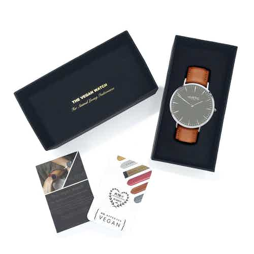 Mykonos Vegan Leather Watch Silver, Grey & Tan from Hurtig Lane in Watches, Accessories