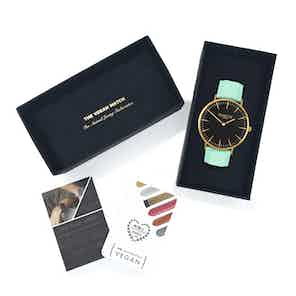 Mykonos Vegan Leather Watch Gold, Black & Mint from Hurtig Lane in Watches, Accessories
