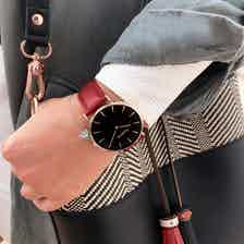 Mykonos Vegan Leather Watch Rose Gold, Black & Cherry Red from Hurtig Lane in Watches, Accessories