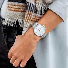 Mykonos Vegan Leather Watch Silver, White & Cloud from Hurtig Lane in Watches, Accessories
