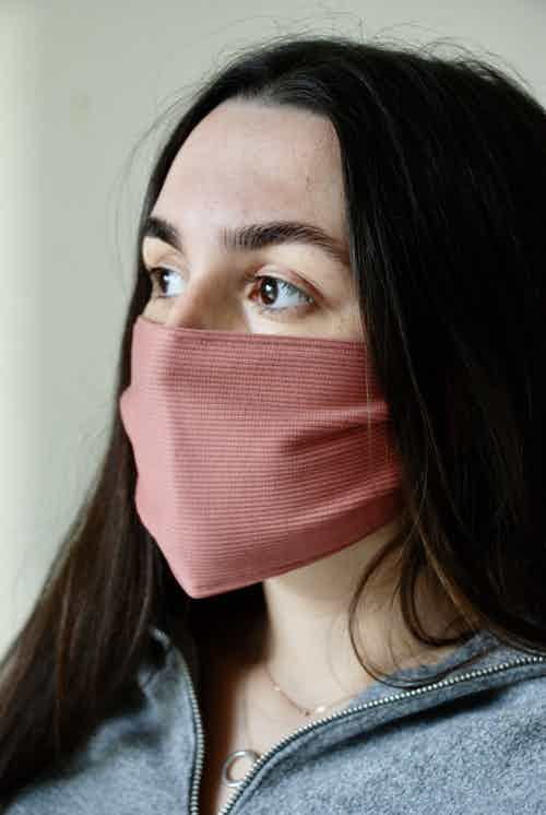 Ribbed Pink Face Covering from Beatrice Bayliss in Face Masks, Accessories