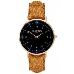 Moderna Vegan Tweed Watch Gold, Black & Camel from Hurtig Lane in Watches, Accessories