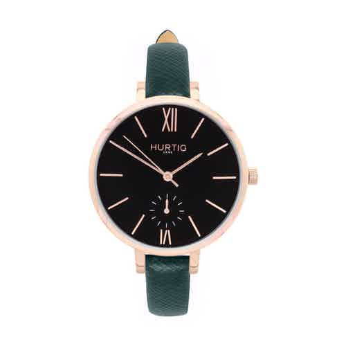 Amalfi Petite Vegan Leather Watch Rose Gold, Black & Forest Green from Hurtig Lane in Watches, Accessories