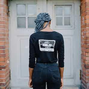 Women's MixTape Rewind 100% Organic Long Sleeve Tencel T-Shirt from Audio Architect Apparel in Women,
