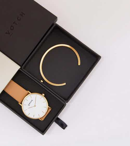 Gold Bangle with Gold & Tan Classic Watch from Votch in Watches, Accessories