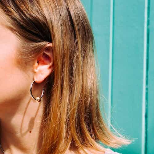 Mustard Hoops from Little by Little in Earrings, Jewellery