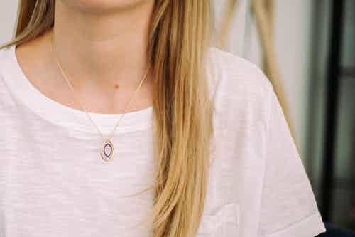 Apple Pip Spinning Necklace, Gold from Little by Little in Necklaces, Jewellery