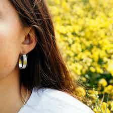 Apple Pip Hoop Earrings, Silver from Little by Little in Earrings, Jewellery