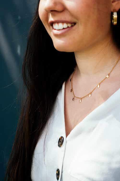 Apple Nine Pip Necklace, Gold from Little by Little in Necklaces, Jewellery