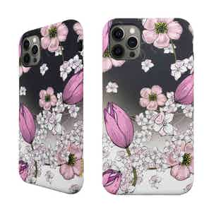 Eco Friendly Printed Floral Pink iPhone 12 Pro Case from Uunique London in Phone Cases, Electronics