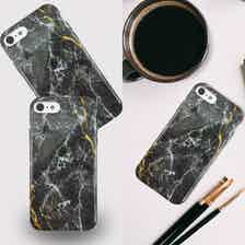 Eco Friendly Printed Black Marble iPhone SE / 8 / 7 / 6 Case from Uunique London in Phone Cases, Electronics