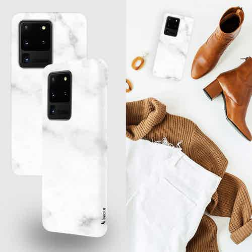 Eco Friendly Printed White Marble Samsung Galaxy S20 Ultra Case from Uunique London in Phone Cases, Electronics
