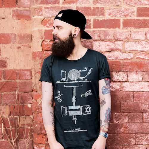 Mens Edison Raw-Edge T-Shirt from Audio Architect Apparel in Men,