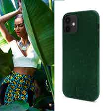 Eco Friendly Dark Green iPhone 12 mini Case from Uunique London in Phone Cases, Electronics