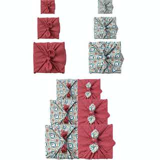 Reusable Gift Wrap Furoshiki - 9 Piece Teal & Cherry Bundle from FabRap in Gift Wrapping , Gifts