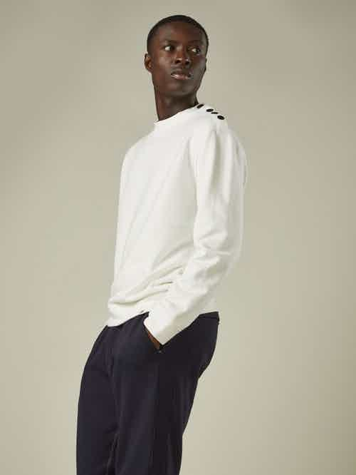 100% Organic Cotton Popper shoulder sweatshirt  (Cream) from Cut & Pin in Men,